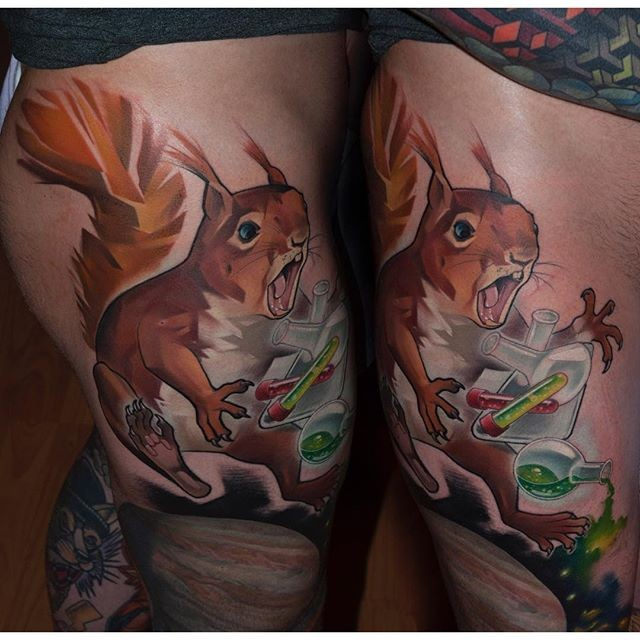 Realism style colored thigh tattoo of squirrel with chemistry bottles