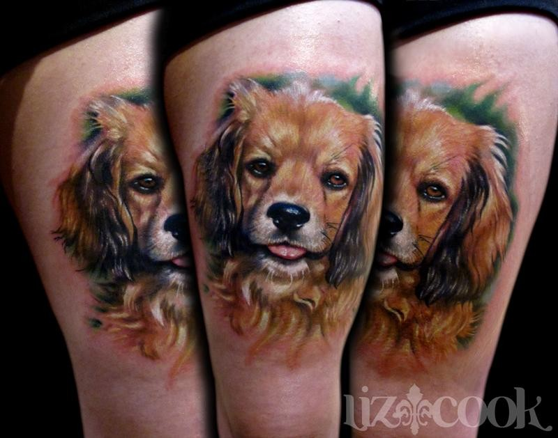 Realism style colored thigh tattoo of funny dog portrait