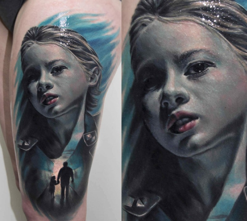 Realism style colored thigh tattoo of girl portrait combined with father and daughter