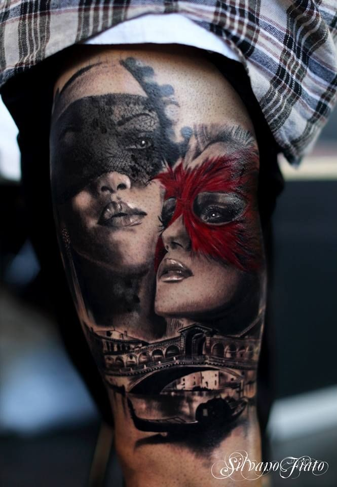 Realism style colored thigh tattoo of woman face with masks