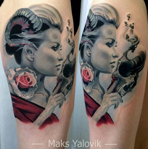 Realism style colored thigh tattoo of woman with skull and rose