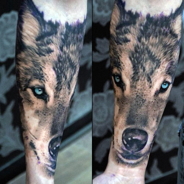 Realism style colored very detailed forearm tattoo of wolf head