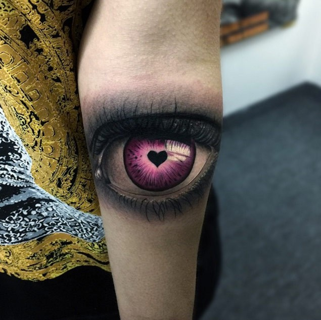 Realism style colored woman eye stylized with small black for Small eye tattoo
