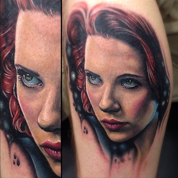 Realism style colored woman portrait tattoo