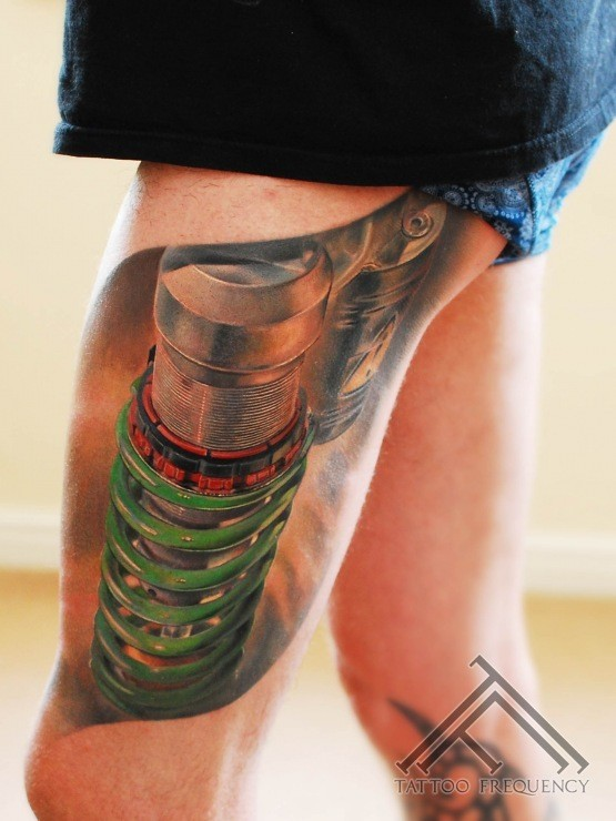 Realism style cool looking thigh tattoo of suspension