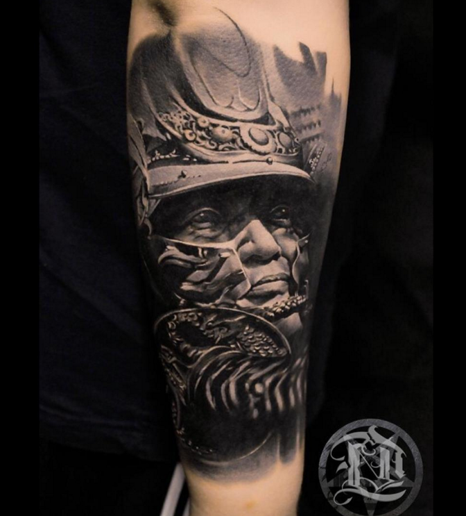 Realism style detailed arm tattoo of samurai warrior