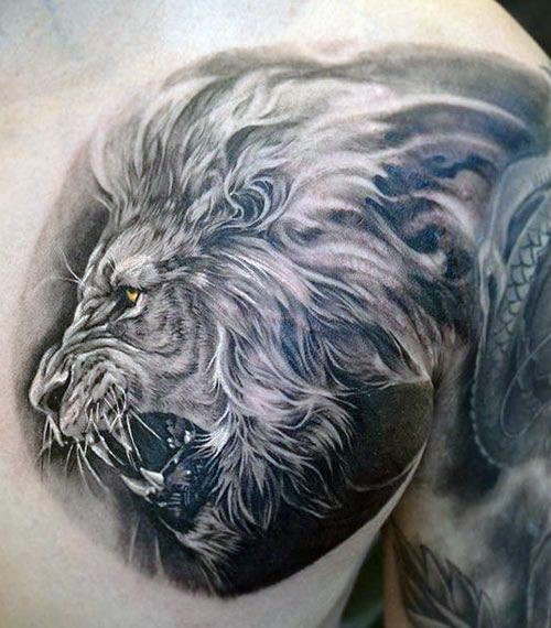 Realism style detailed colored chest tattoo of roaring tiger head