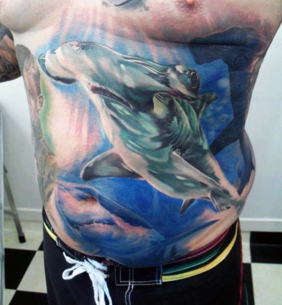Realism style detailed large sharks tattoo on chest and belly
