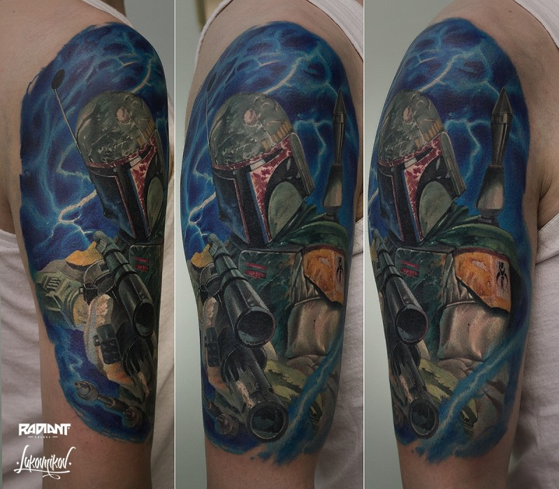 Realism style detailed shoulder tattoo of Bobba Fett