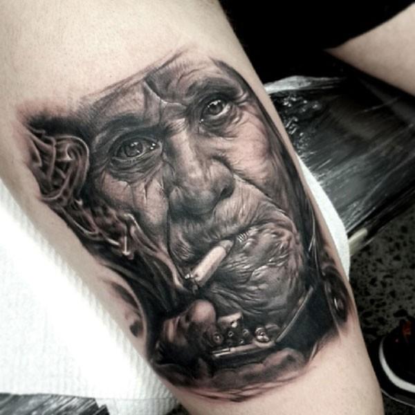 Realism style detailed smoking man