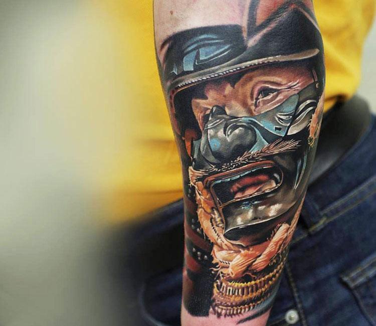 Realism style illustrative style forearm tattoo of samurai in mask