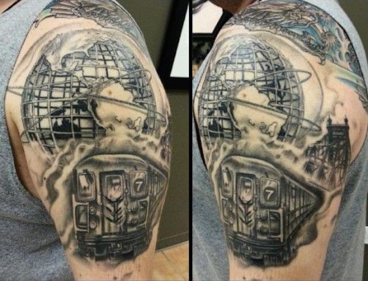 realism style new york themed black and white shoulder tattoo of city train and globe statue. Black Bedroom Furniture Sets. Home Design Ideas