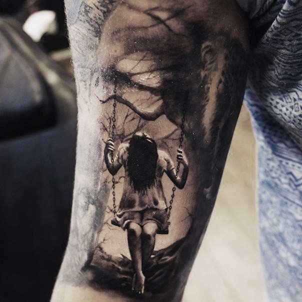 realism style very detailed arm tattoo of girl in dark forest