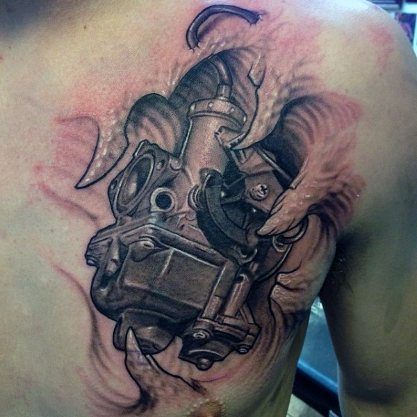 Realism style very detailed car part tattoo on chest for Car motor tattoos
