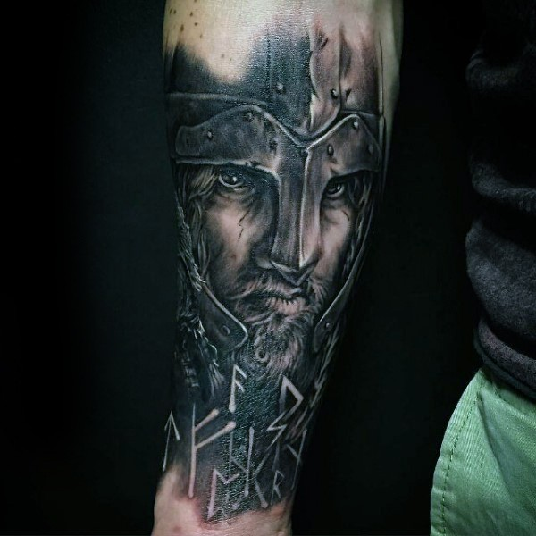 Realism style very detailed forearm tattoo of medieval knight