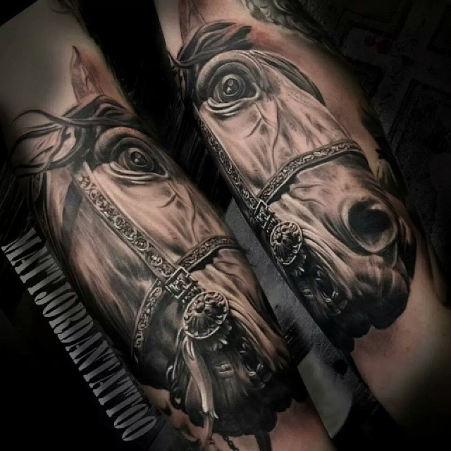 Realism style very detailed horse tattoo