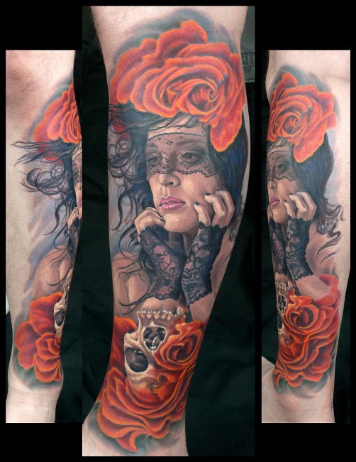Realism style very detailed leg tattoo of beautiful woman with roses and skull