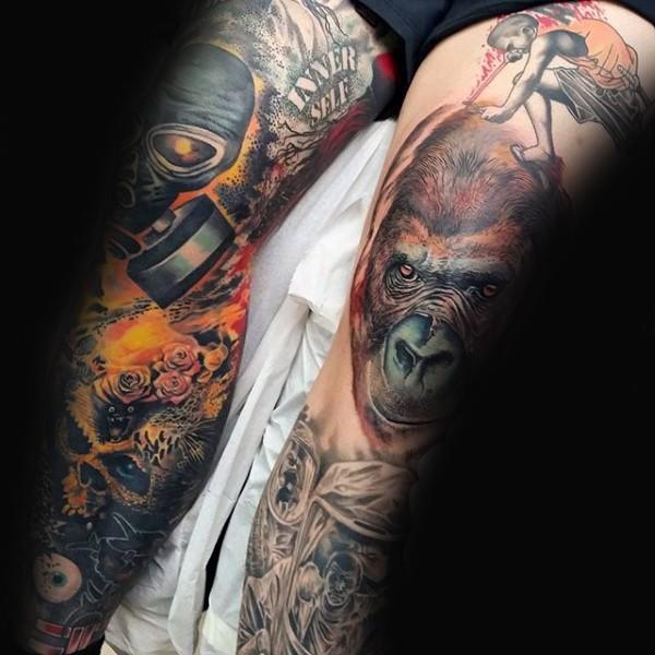 Realism style very detailed monkey head tattoo on leg