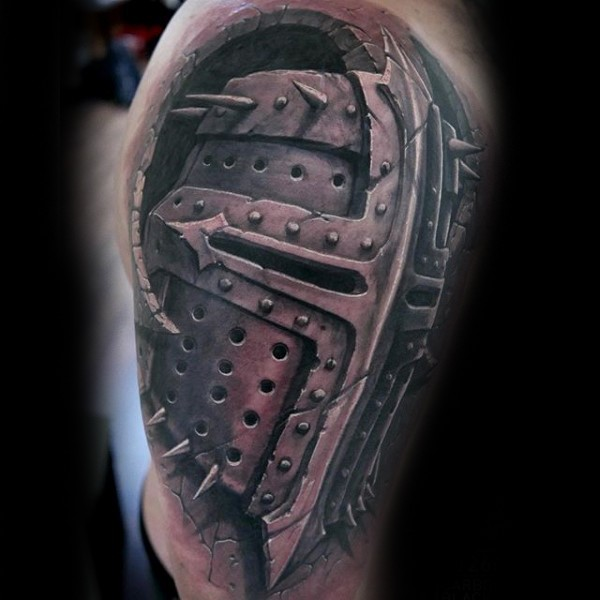 Realism style very detailed tattoo of big ancient knight helmet