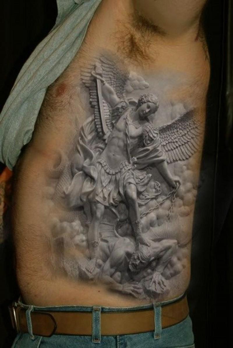 Realistic angel winner tattoo on ribs
