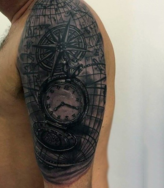 Realistic black ink pocket clock with nautical map half sleeve area tattoo