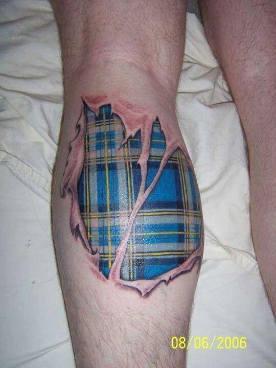 realistico da sotto pelle blu scozzese tatuaggio su gamba di uomo