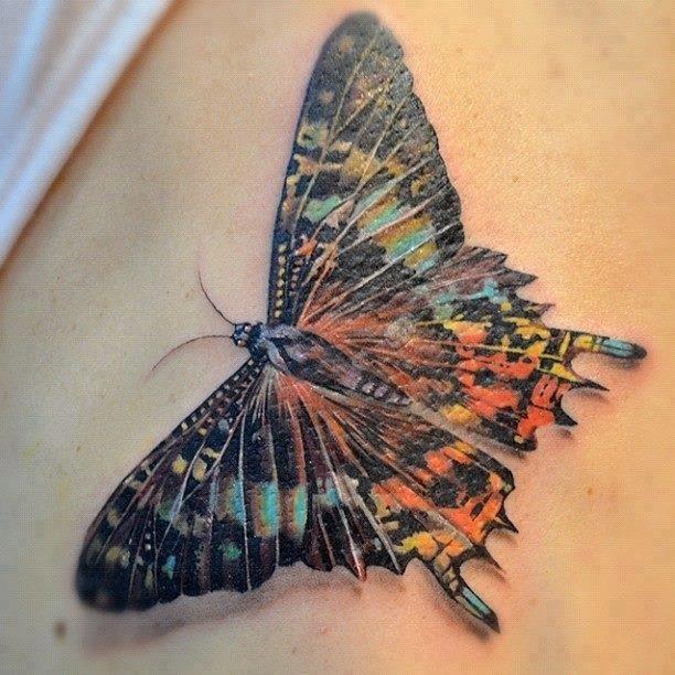 Realistic big butterfly tattoo