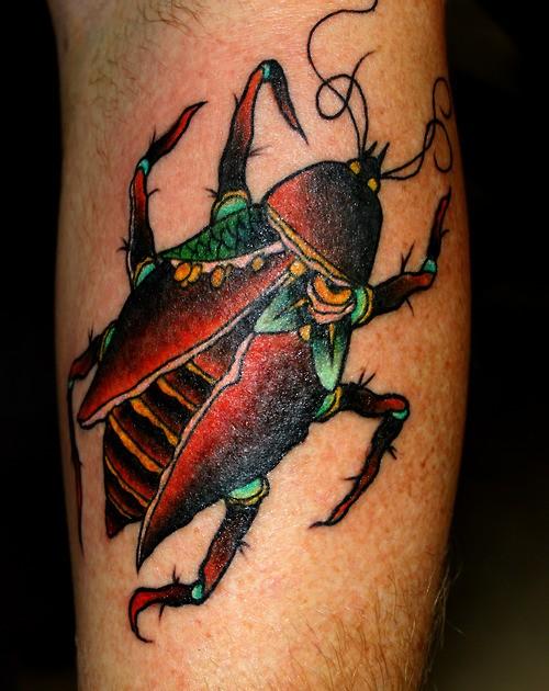 Realistic colored bug tattoo on leg