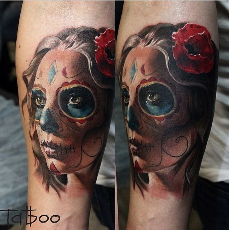 Realistic colorful day of the dead girl with red flower tattoo