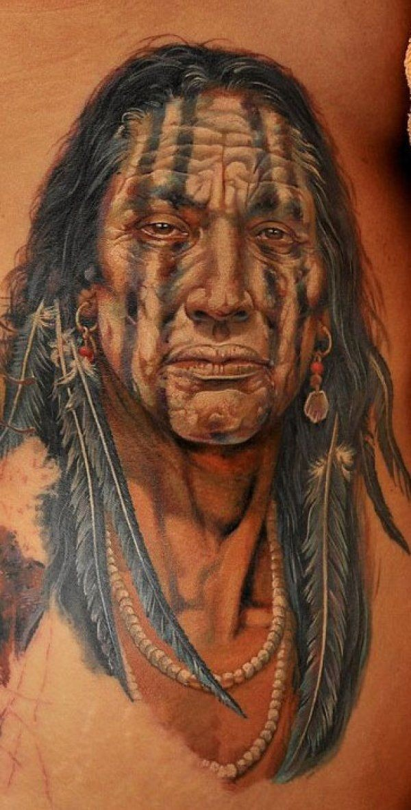 Realistic colorful native american tattoo