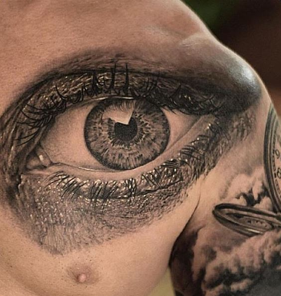 Realistic detailed black gray eye tattoo on chest for Eye tattoo images