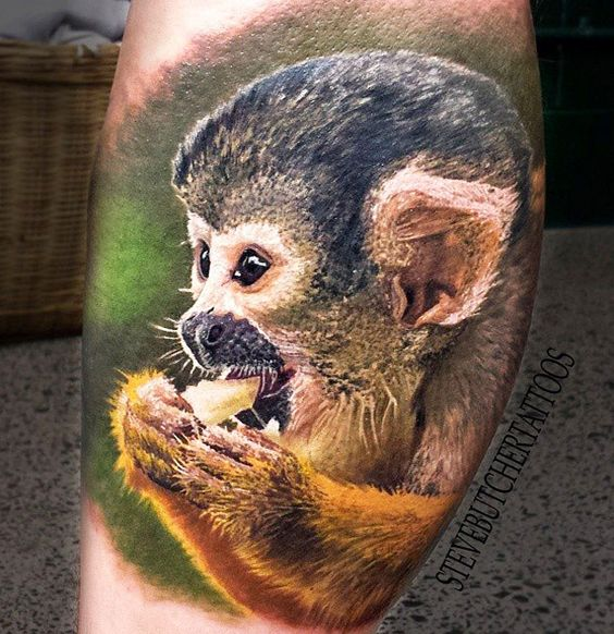 Realistic little monkey tattoo by Steve Butcher