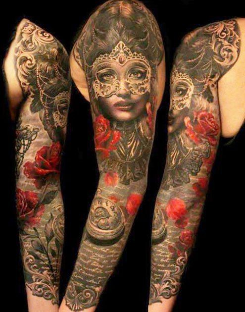 Realistic looking amazing detailed and colored woman in mas with old clock and flowers tattoo on sleeve