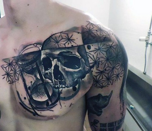 Realistic looking big black and white skull with sand clock tattoo on chest