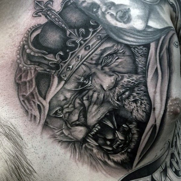 Realistic looking black and white king with lion tattoo on chest