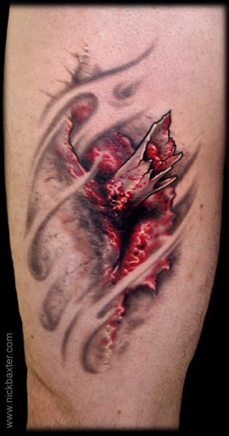 Realistic looking colored arm tattoo of ripped skin and bloody bone
