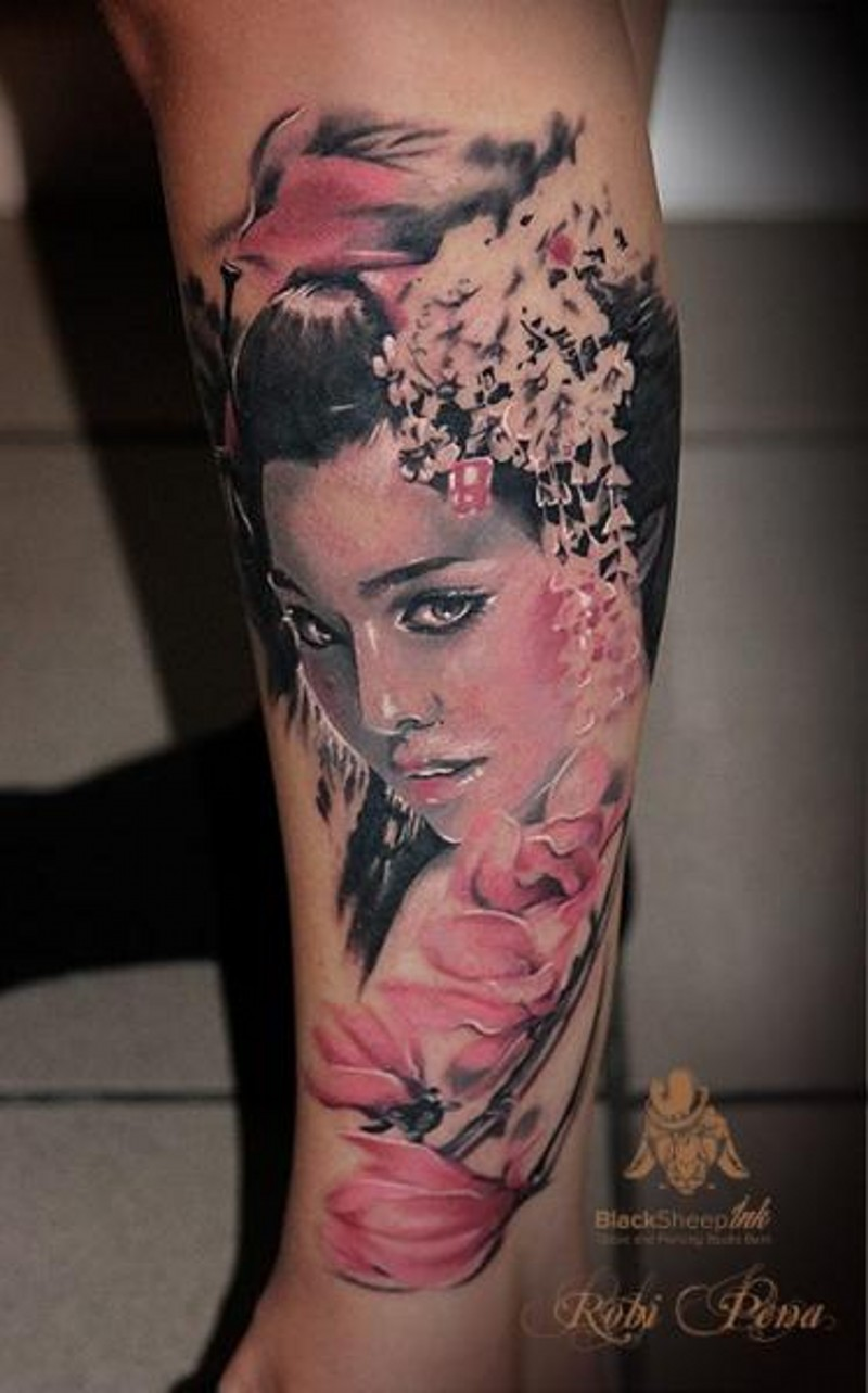 Realistic looking colored beautiful Asian woman portrait tattoo combined with pink flowers