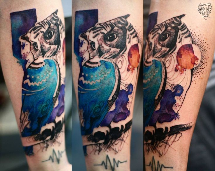 Realistic looking colored by Joanna Swirska arm tattoo of big owl