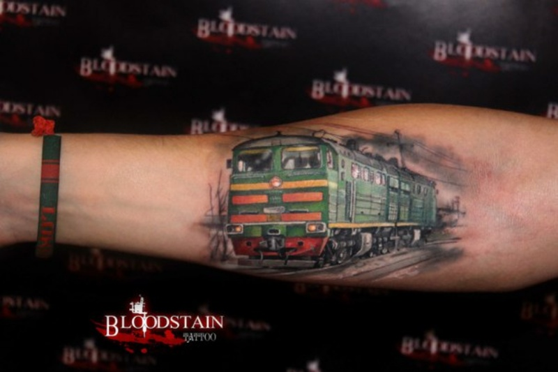 Realistic looking colored forearm tattoo of USSR train