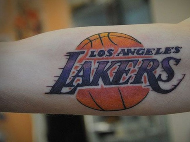 Realistic looking colored la lakers basketball team emblem for La lakers tattoo