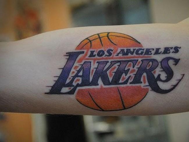 Realistic looking colored LA Lakers basketball team emblem