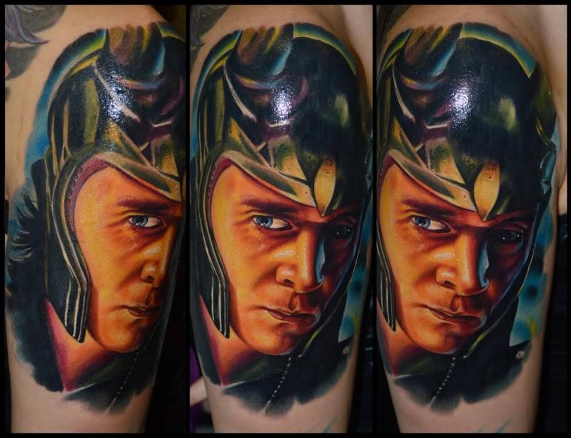 Realistic looking colored leg tattoo of Marvels superhero Loki