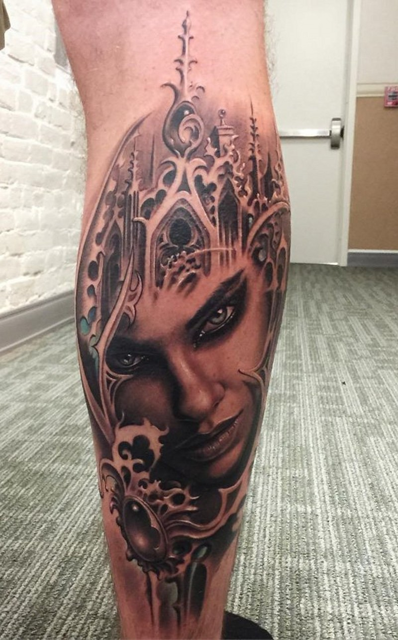 Realistic looking colored mystical fantasy world woman tattoo on leg