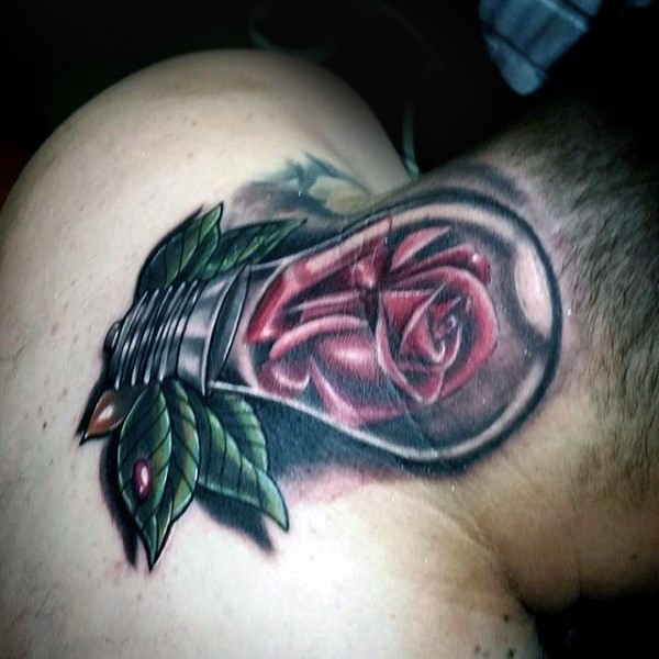 Realistic looking colored neck tattoo of bulb with rose