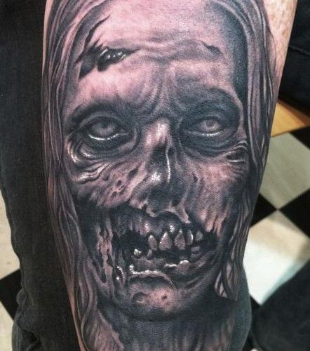 Realistic Looking Creepy Monster Zombie Woman Arm Tattoo