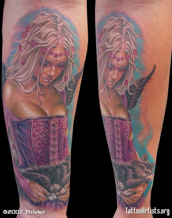Realistic looking multicolored seductive Tinkerbell with sleeping cat tattoo on arm
