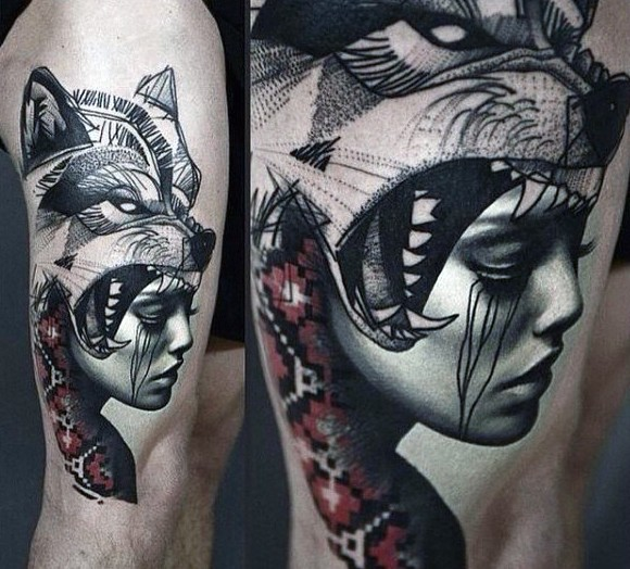 Realistic looking portrait style thigh tattoo of woman portrait with wolf and ornaments