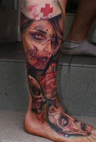 Realistic looking very detailed horror zombie nurse tattoo on leg