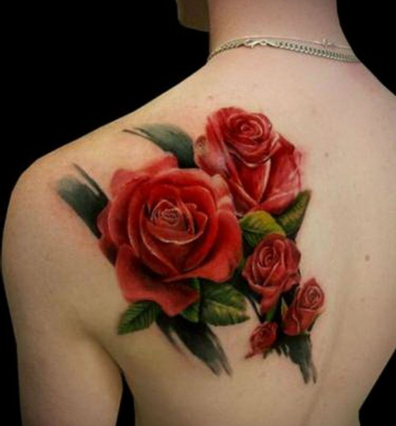 Realistic natural looking colored rose flowers tattoo on ...