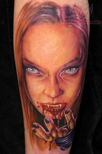 Realistic painted and colored creepy bloody vampire woman tattoo on arm